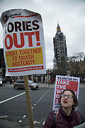 Student demonstrators protest in Westminster on Budget Day on 22nd November 2017 in London, England, United Kingdom. As the Tories deliver their Autumn Budget, protesters make their views heard outside Parliament.