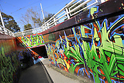Graffiti art mural at underground walkway, Saint Kilda, Melbourne, Australia