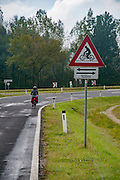 Cycling warning sign. Austria. Model release available