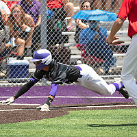 Miyamura Patriot Isaiah Martinez slides into home to score Miyamura's first run in the sixth inning against Albuquerque Academy in the NMAA Baseball State Championship semifinal game Thursday in Gallup.