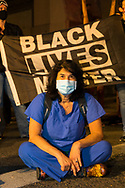 Portland Protests in downtown Portland, Oregon. Multnomah County Commisssioner Dr. Sharon Meieran attending the protest to bear witness to the Federal military presence.