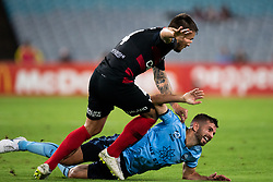 December 15, 2018 - Sydney, NSW, U.S. - SYDNEY, NSW - DECEMBER 15: Sydney FC defender Michael Zullo (7) and Western Sydney Wanderers defender Josh Risdon (4) come together at the Hyundai A-League Round 8 soccer match between Western Sydney Wanderers FC and Sydney FC at ANZ Stadium in NSW, Australia on December 15, 2018. (Photo by Speed Media/Icon Sportswire) (Credit Image: © Speed Media/Icon SMI via ZUMA Press)