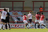 Football - 2020 / 2021 Sky Bet League Two - Morecambe vs. Bolton Wanderers<br /> <br /> Ben Jackson of Bolton Wanderers puts the visitors 1-0 ahead just before half time, at the Mazuma Stadium.<br /> <br /> COLORSPORT/ALAN MARTIN