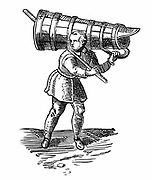 An apprentice, carrying a vessel wooden  as tall as himself,  on his way to fetch water. Engraving from Braun 'Civitates Orbis Terrarum' 1572.