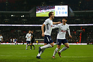 Harry Kane of Tottenham  (L) celebrates after he scores his teams 2nd goal as Tottenham Hotspur go 2-0 up against Everton . <br /> Premier league match, Tottenham Hotspur v Everton at Wembley Stadium in London on Saturday 13th January 2018.<br /> pic by Kieran Clarke, Andrew Orchard sports photography.