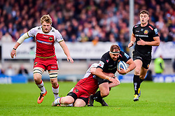 Ben Moon of Exeter Chiefs is tackled - Mandatory by-line: Ryan Hiscott/JMP - 18/05/2019 - RUGBY - Sandy Park - Exeter, England - Exeter Chiefs v Northampton Saints - Gallagher Premiership Rugby