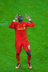 LIVERPOOL, ENGLAND - Monday, December 19, 2016: Liverpool's Sadio Mane celebrates scoring a late injury-time winning goal against Everton, to seal a 1-0 victory, during the FA Premier League match against Liverpool, the 227th Merseyside Derby, at Goodison Park. (Pic by Gavin Trafford/Propaganda)