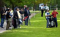 Photograph: Scott Heavey, Digitalsport<br />Volvo PGA Championship At Wentworth Club. 24/05/2003.<br />Norways Henrik Bjørnstad is watched by the Wentworth crowd.