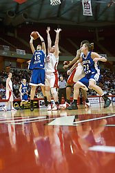 04 February 2006:  Laura Rudolphi takes shot from outside of defender Lori Trumblee. The Indiana State Sycamores shook the Illinois State Redbirds from the nest with a 75-71 Victory.  There were 3,581 fans on hand, making the audience the  2nd largest women's basketball crowd ever in Redbird Arena on Illinois State University campus in Normal Illinois.