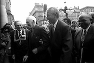 Nelson Mandela outside the City Chambers, George Square, Glasgow, Scotland, on 9th October 1993. Mandela was in Glasgow to receive the 'Freedom of the City' honour.