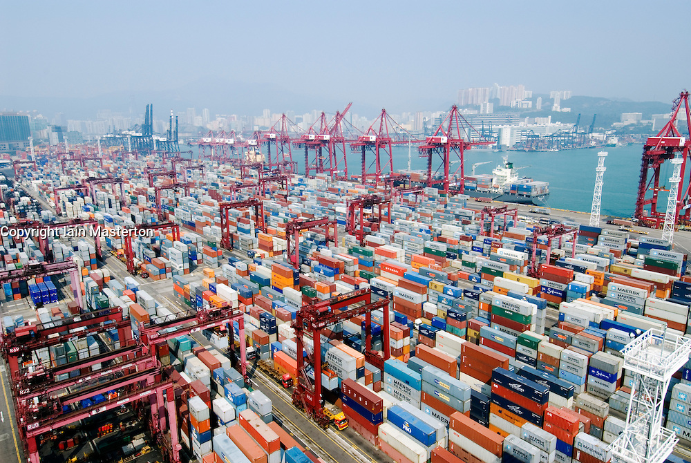 Looking down on large busy modern container terminal at Hong Kong