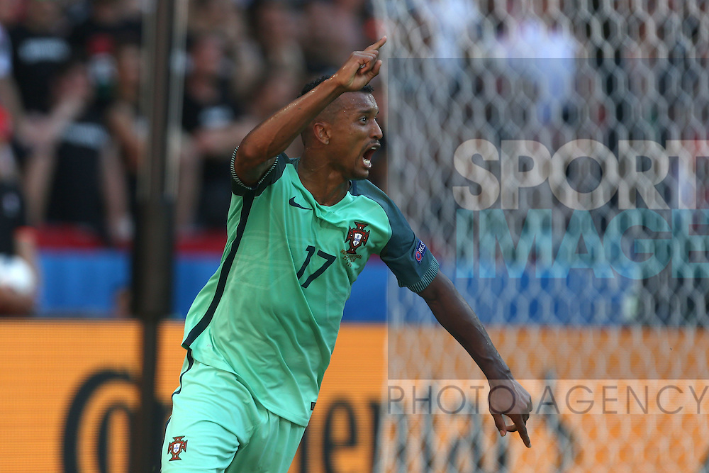 Nani of Portugal celebrates scoring his sides equalising goal during the UEFA European Championship 2016 match at the Stade de Lyon, Lyon. Picture date June 22nd, 2016 Pic Phil Oldham/Sportimage