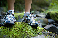 Person standing on mossy rock in creekbed. Forest Park, Portland Oregon.