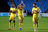 Wimbledon defender Will Nightingale (5) applauds the fans  during the EFL Sky Bet League 1 match between Coventry City and AFC Wimbledon at the Ricoh Arena, Coventry, England on 12 January 2019.