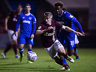 George Smith of Northampton Town © in action with Jamal Lowe of Portsmouth chasing. EFL Skybet Football League one match, Northampton Town v Portsmouth at the Sixfields Stadium in Northampton on Tuesday 12th September 2017. <br /> pic by Bradley Collyer, Andrew Orchard sports photography.