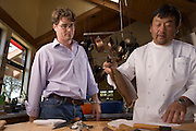 Sushi chef Ken Tominaga of Hana and Go Fish restaurants prepares sushi at the home of Go Fish partner and chef Cindy Pawlcyn in the Napa Valley, CA..