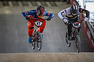 #42 (SCHIPPERS Jay) NED and #996 (KRIGERS Kristens) LAT at Round 2 of the 2018 UCI BMX Superscross World Cup in Saint-Quentin-En-Yvelines, France.