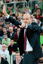 Jure Zdovc, Head Coach of Union Olimpija, during second semi-final match of Basketball NLB League at Final four tournament between KK Union Olimpija and Krka (SLO), on April 19, 2011 at SRC Stozice, Ljubljana, Slovenia. (Photo By Matic Klansek Velej / Sportida.com)