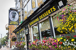 © Licensed to London News Pictures. 22/08/2015. Harrogate, UK. The Coach & Horses pub in Harrogate has been renamed Sunshine Desserts in memory of comic writer David Nobbs who wrote the The Fall And Rise Of Reginald Perrin, about the misadventures of a frustrated middle-manager working for Sunshine Desserts. Photo credit: Andrew McCaren/LNP