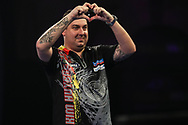 Kim Huybrechts after his second round victory over Daniel Larsson during the World Darts Championships 2018 at Alexandra Palace, London, United Kingdom on 19 December 2018.