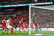 Malta Goalkeeper Andrew Hogg  makes a save during the FIFA World Cup Qualifier match between England and Malta at Wembley Stadium, London, England on 8 October 2016. Photo by Andy Walter.