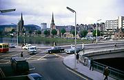 Traffic on Ness Bridge crossing River Ness, Inverness, Scotland 1971