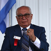 CANASTOTA, NY - JUNE 14: Boxing promoter Rafael Mendoza shows off his new ring during the induction ceremony at the International Boxing Hall of Fame induction Weekend of Champions events on June 14, 2015 in Canastota, New York. (Photo by Alex Menendez/Getty Images) *** Local Caption *** Rafael Mendoza