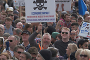 People take part and hold placards in a 'We Do Not Consent' rally at Trafalgar Square, organised by Stop New Normal, to protest against coronavirus restrictions, in London on Saturday, Sept. 26, 2020. (VXP Photo/ Gio Strondl)