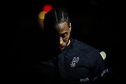 SAN ANTONIO, TX - MARCH 19:  Kawhi Leonard of the San Antonio Spurs during the game against the Sacramento Kings on March 19, 2017 at the AT&T Center in San Antonio, Texas. NOTE TO USER: User expressly acknowledges and agrees that, by downloading and or using this photograph, user is consenting to the terms and conditions of the Getty Images License Agreement. Mandatory Copyright Notice: Copyright 2017 NBAE (Photos by Darren Carroll/NBAE via Getty Images)