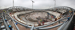 VeloPark. Panoramic view of construction of the cable net roof underway on the Velodrome. Picture taken on 19.01.2010 by David Poultney.
