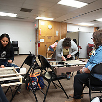 Participants at a Navajo rug weaving class hosted by Diné weaver Lois A. Becenti Friday, Jan. 17 at the Octavia Fellin Public Library in Gallup. The classes are free but you must bring your own materials. The next class will be Friday Feb. 21 from 10 a.m. to 3 p.m. at the Octavia Fellin Public Library in Gallup.