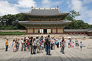 A tour group outside Injeongjeon Hall (the throne hall), Changdeokgung palace. Originally built 1405, destroyed in the ImjinWars, restored 1609, destroyed by fire 1803. The current structure dates from 1804. Seoul, Korea, 2007