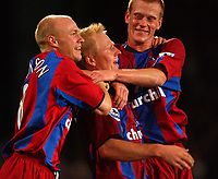 Fotball<br /> Premier League England<br /> Foto: SBI/Digitalsport<br /> NORWAY ONLY<br /> <br /> Crystal Palace v Fulham<br /> 04/10/2004.<br /> <br /> Crystal Palace's Aki Riihilahti celebrates hbis goal with fellow scorer Andy Johnson and Ben Watson (rhs)