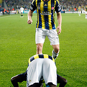 Fenerbahce's Moussa Sow celebrate his goal with team mate during their Turkish superleague soccer match Fenerbahce between Akhisar Belediyespor at the Sukru Saracaoglu stadium in Istanbul Turkey on Sunday 31 March 2013. Photo by TURKPIX