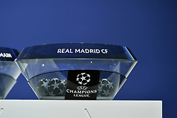 NYON, SWITZERLAND - Monday, December 14, 2020: The draw pot for Real Madrid CF during the UEFA Champions League 2020/21 Round of 16 draw at the UEFA Headquarters, the House of European Football. (Photo Handout/UEFA)