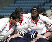 © Peter Spurrier/ Intersport Images.email images@Intersport-mages.com.Photo Peter Spurrier.22/03/2003.RBS Six Nations Women's Rugby England v Scotland.England front row left Vanessa Huxford, hooker Ann O'Flynn and Maxine Edwards.