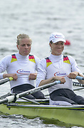 Poznan, POLAND.   2004 FISA World Cup, Malta Lake Course.  <br /> <br /> Fri. morning from the start pontoon<br /> GER LW2X  Bow Marie-Louise Draeger and Claudia Blasberg.<br /> 09.05.2004<br /> <br /> [Mandatory Credit:Peter SPURRIER/Intersport Images]