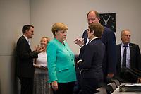 DEU, Deutschland, Germany, Berlin, 24.07.2019: Bundeskanzlerin Dr. Angela Merkel (CDU), CDU-Chefin und Bundesverteidigungsministerin Annegret Kramp-Karrenbauer, sowie Kanzleramtsminister Helge Braun (CDU) vor Beginn der Fraktionssitzung der CDU/CSU.