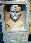 Roman funeral stele with a portrait of Gaius Felix. 69-80 AD