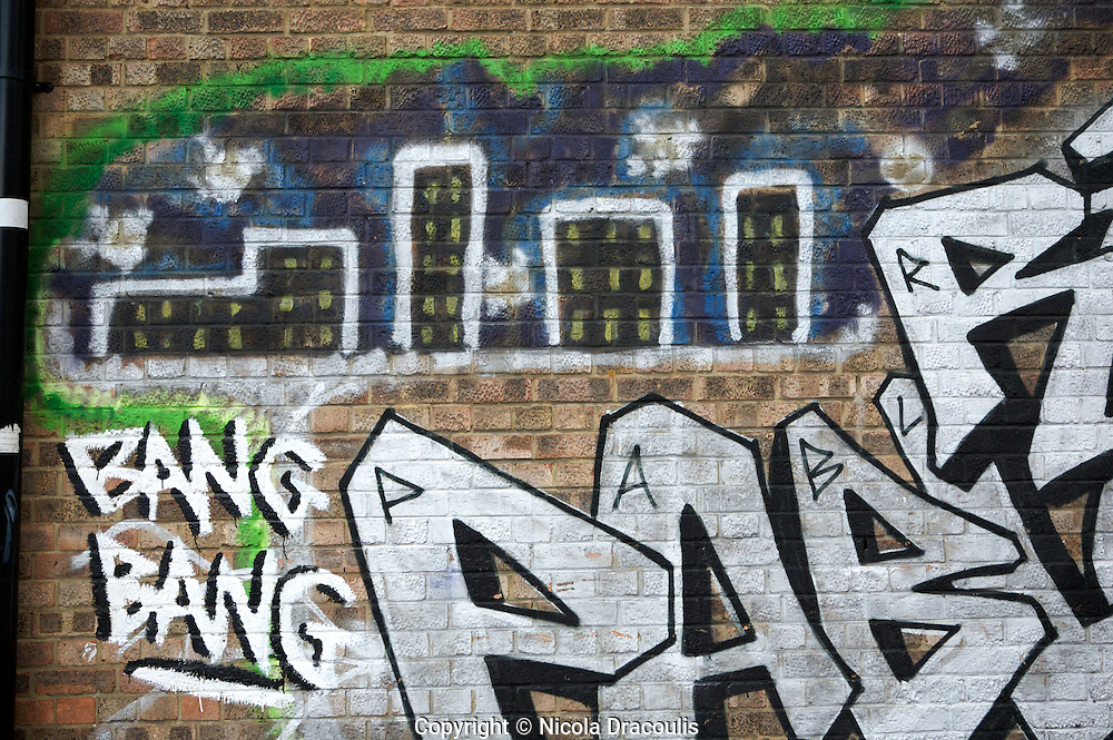 In memory of Robert Levy. Bang bang local gang, Bang Bang Hackney. Graffiti in memory of Robert Levy. London UK 2008