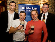 """19/7/2011. Joe Bergin Ulster Bank, Richard Frame and David Newman from the Propeller Company and Dermot O Connell Ulster Bank in McSwiggans for the pre show reception of Propeller's """"Comedy of Errors"""" by Shakspeare in the Galway Arts Festival, sponsored by Ulster Bank. Photo:Andrew Downes"""