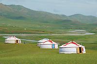 Mongolie, Province d'Ovorkhangai, Vallee de l'Orkhon, campement touristique de yourte. // Mongolia, Ovorkhangai province, Orkhon valley, tourist yurt camp.
