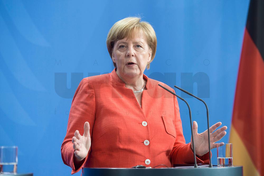 09 JUL 2018, BERLIN/GERMANY:<br /> Angela Merkel, CDU, Bundeskanzlerin, waehrend einer Pressekonferenz zu den Ergebnissen der Deutsch-Chinesische Regierungskonsultationen, Bundeskanzleramt<br /> IMAGE: 20180709-02-066