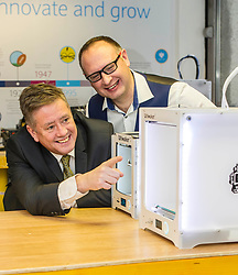 Pictured: Keith Brown with Stuart Brown, Head of SME Barclays banking Scotland<br /> Today Keith Brown MSP opened Scotland's first Barclays Eagle lab in partnership with CodeBase. The resource allows businesses and communities to access new technologies and boost digital skills while supporting job creation in the local economy. <br /> <br /> Ger Harley   EEm 16 January 2018