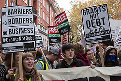 Thousands of students attend a National Demonstration for a Free Education on 4th November 2015 in London, United Kingdom. The demonstration was organised by the National Campaign Against Fees and Cuts (NCAFC) in protest against tuition fees and the Government's plans to axe maintenance grants with effect from 2016.