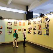 A exhibit room of photos and posters at the War Remnants Museum in Ho Chi Minh City (Saigon), Vietnam.