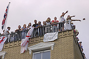 Cricket fans celebrate England's winning of the Ashes from Australia. The Oval. 12 September 2005.  ONE TIME USE ONLY - DO NOT ARCHIVE  © Copyright Photograph by Dafydd Jones 66 Stockwell Park Rd. London SW9 0DA Tel 020 7733 0108 www.dafjones.com