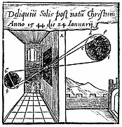 Camera obscura: projecting a solar eclipse into a darkened room through a small hole, showing how the image is inverted. From Daniele Santbech 'Problematum Astronomicorum' Basle, 1561