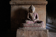 Burma/Myanmar, Bagan. Buddha statue in a temple of Bagan - one of the most popular historical sites and tourist destinations in Myanmar.