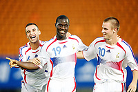 Fotball<br /> VM U17<br /> Foto: imago/Digitalsport<br /> NORWAY ONLY<br /> <br /> 29.08.2007 <br /> Frankrike<br /> <br /> Torjubel Frankreich U17, v.li.: Said Mehamha, Henri Saivet und Thibaut Bourgeois